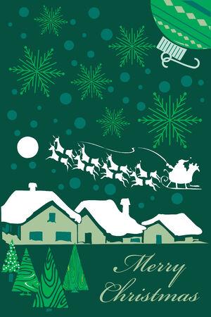 saint nick: Verticale Christmas card design in toni di verdi. Vector Illustration. Senza sfumature sono stati utilizzati molto facile da modificare.