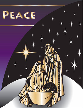 israel people: Nativity Christmas Card 2 Vector Illustration. Illustration