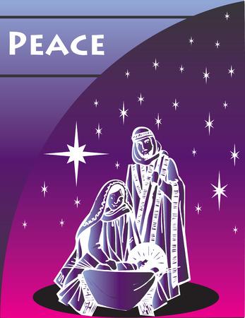 saviour: Nativity Christmas Card 1 Vector Illustration.