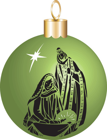 Vector Illustration Nativity Christmas Ornament with baby Jesus Mary and Joseph. Vector