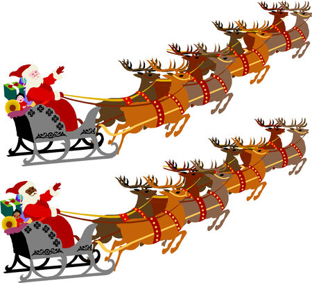 Santa with Sleigh and Reindeer, vector illustration of 2 versions.