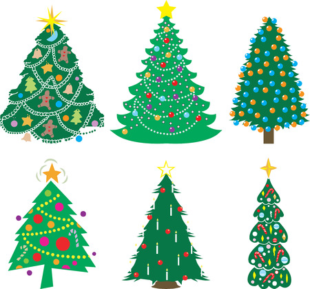 A Variety of six decorated Christmas Trees. Vector Illustration