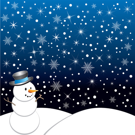 Winter Scene, vector Illustration with starry night and snowflakes.