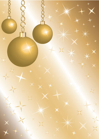 Golden Christmas Background with gold Ornaments and stars. There is space for text or image. Stock Vector - 6058438