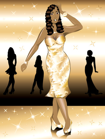 Formal Golden Gown Woman, can be used for Holidays, prom or anything. Vector