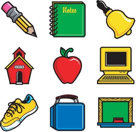 shoe boxes: Nueve divertidos iconos de la escuela. Muy f�cil de editar. Ilustraci�n vectorial.