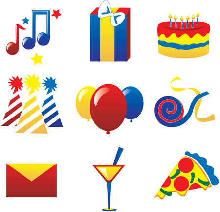 Nine fun party icons. Vector Illustration easy to edit, I used the 3 primary colors. Vector