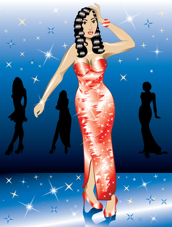 Formal Red Gown Woman, can be used for Christmas, Valentines Day, prom or anything. Vector