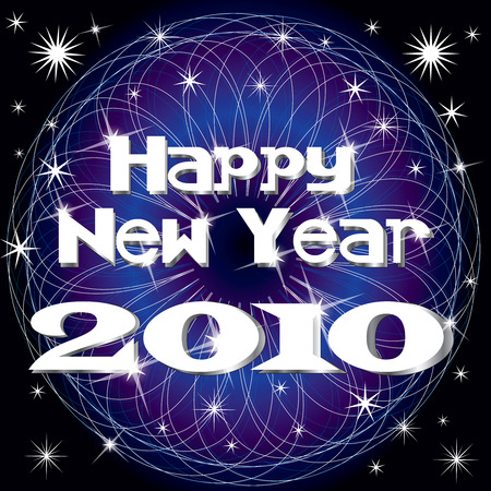 calandar: 2010 New Years design with fireworks, vector illustration.