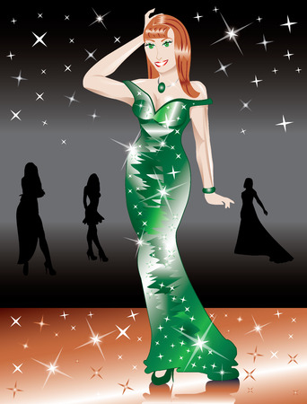 Formal Green Gown Woman, can be used for Christmas, St. Patricks Day, Prom or anything. Vector