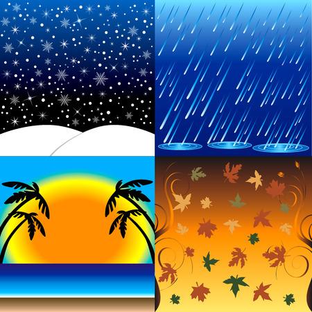Ilustración de Vedcctor de las cuatro estaciones, invierno, primavera, verano y otoño.