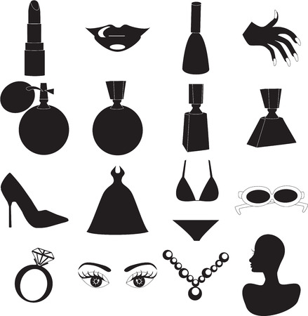 cosmetic product: 12 Silhouette Icons for Beauty or Fashion. Also available as buttons and in color.