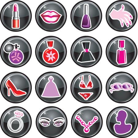 美しさやファッションのための 16 のベクター アイコン ボタン。黒のボタンとしても使用できます。  イラスト・ベクター素材