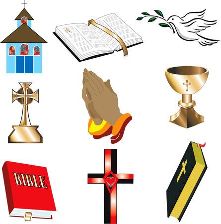 Kerk pictogrammen 1 vector illustratie 9 kerkChristian pictogrammen.  Stock Illustratie