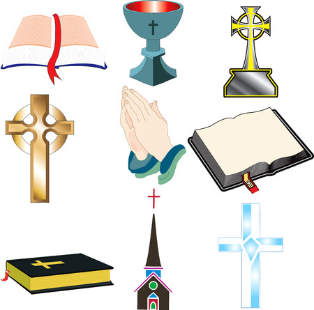 praise and worship: Church Icons 2 Vector, Illustration of 9 churchChristian icons.