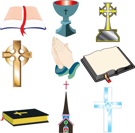 Kerk Icons 2 vector illustratie 9 kerkChristian pictogrammen.  Stock Illustratie