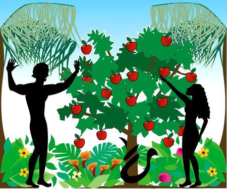 Illustration of Adam warning Eve not to eat the forbidden fruit in the Garden of Eden.