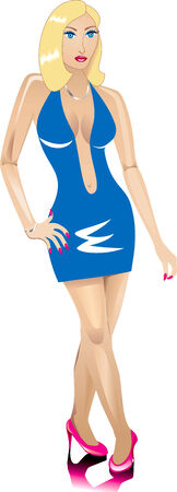 Une femme blonde habillée mode pour une soirée. Banque d'images - 6162740