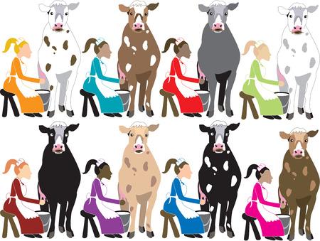 イラスト。牛の乳搾りの女性。