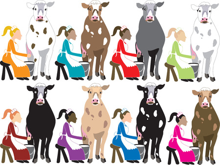 Illustration. Ladies milking cows. Stock Vector - 6162749
