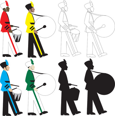 8 different types of drummers Illustration.  Vector