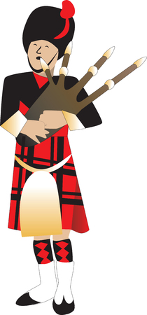 scot: Illustration cartoon of a bagpiper piping.