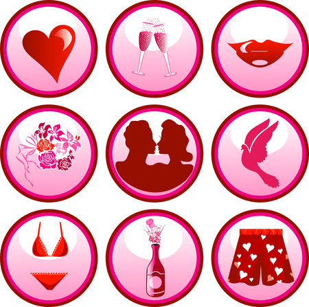9 Vector Icon Buttons for Valentines day or love. Illustration