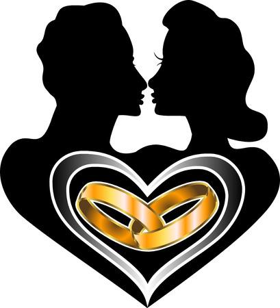 ベクトル結婚アイコン愛のロゴもご利用いただけます赤ちゃんと一緒に。