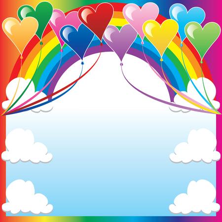flores fucsia: Ilustraci�n de 10 globos de coraz�n con un fondo multicolor y un lugar para texto o im�genes.