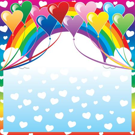 flores de cumplea�os: Ilustraci�n de 10 globos de coraz�n con un fondo multicolor y un lugar para texto o im�genes.