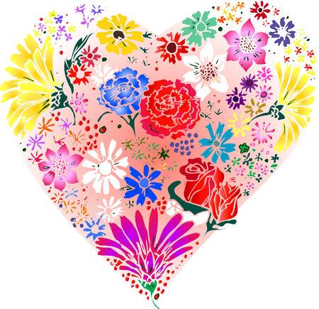 Bloemen gemaakt in een hart. Stock Illustratie