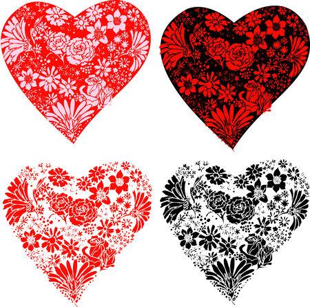 Set van bloemen made in 4 gestileerde harten jagen. Stock Illustratie