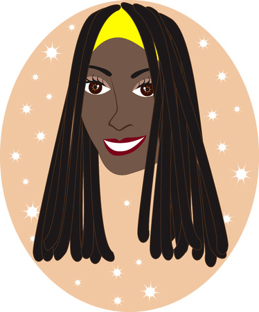 Vector pretty African American or Jamaican girl with Tan background. Great for personalization, see many other faces with different looks.