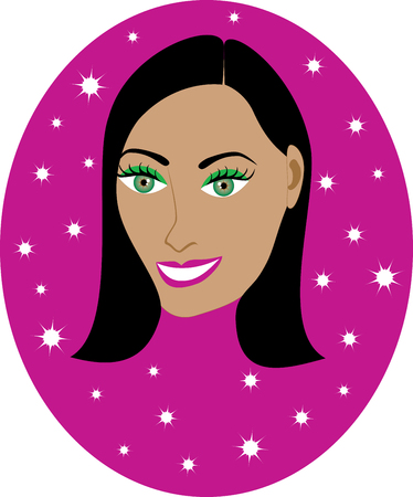 haired: Vector pretty Dark haired girl with Hot Pink background. Great for personalization, see many other faces with different looks. Illustration