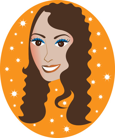 light skin: Vector pretty Hispanic or Middle Eastern girl with Orange background. Great for personalization, see many other faces with different looks.