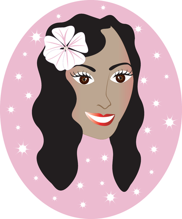 Vector pretty Hawaiian girl with Pink background. Great for personalization, see many other faces with different looks. Vector