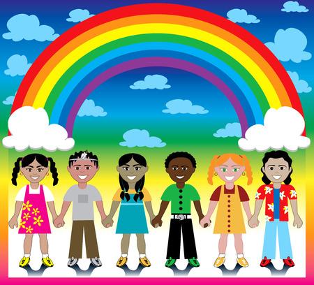 Vector illustratie van 6 gelukkige kinderen onder een regenboog met een kleurrijke kronkelen en een plaats voor tekst of afbeeldingen.