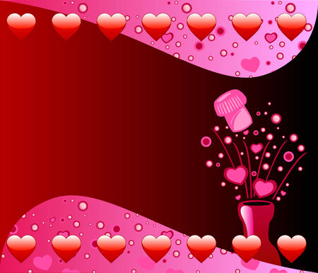 Vector Valentine Background with Popped Champagne Bottle bubbles and hearts. Vector