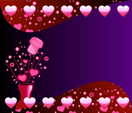 Vector Valentine Champagne achtergrond 2 met bubbels en harten.  Stockfoto - 6308614