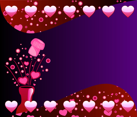 Vector Valentine Champagne Background 2 with Bubbles and Hearts. Vector