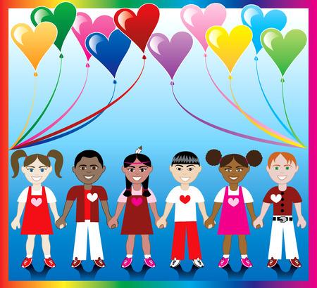 Vector illustratie van 10 hart ballonnen met een kleurrijke kronkelen en kinderen hand in hand met de kleuren van de liefde en harten.  Stock Illustratie