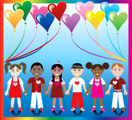 Vector Illustration of 10 Heart balloons with a colorful backgound and kids holding hands with Love colors and Hearts.  Vector