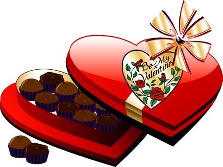 shiny hearts: Vector Valentine Heart Box of Chocolate candy isolated. Illustration
