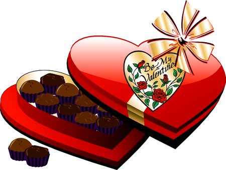 Vector Valentine Heart Box of Chocolate candy isolated. Vettoriali