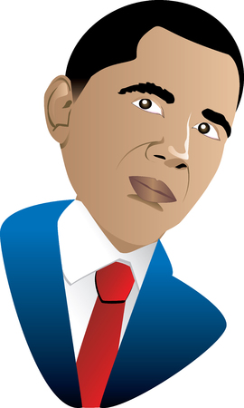 Illustration of President Barack Obama, the first African American President Jan 21, 2009. Can be used for February Black History month or any other occassion.