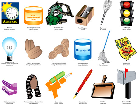 inventor: Illustration of Inventions and Inventors for black history month. Also available without names.