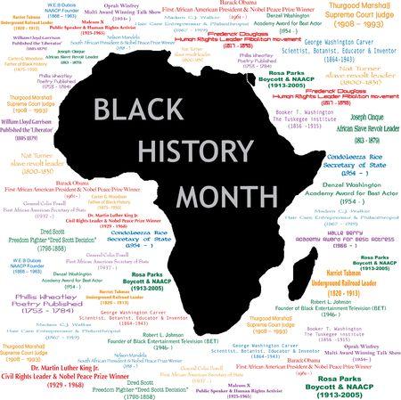 Vector illustratie voor zwarte geschiedenis maand namen, perioden en wat iedereen deed. Zie anderen in deze serie. Maakt een grote afdruk van grote poster.