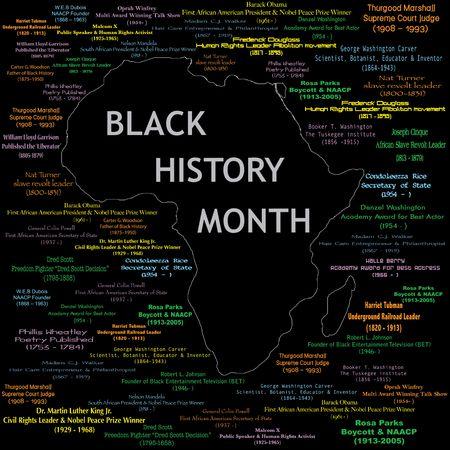 Vectorillustratie voor black history month met inbegrip van namen, perioden en wat elke persoon deed. Zie anderen in deze serie. Maakt een grote poster groot afdrukken. Stockfoto
