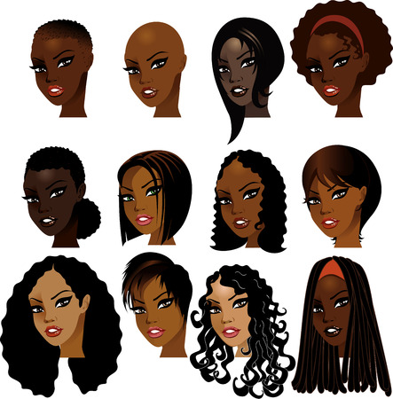 Illustration of Black Women Faces. Great for avatars, makeup, skin tones or hair styles of African women. Vectores