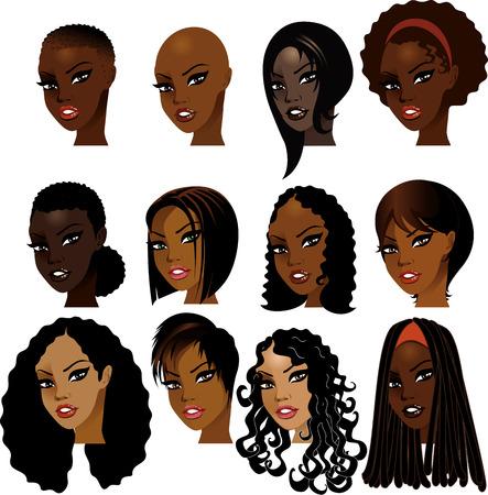 Ilustraci�n de rostros de mujer negra. Ideal para los avatares, maquillaje, tonos de piel o estilos de cabello de las mujeres africanas. Foto de archivo - 6472130